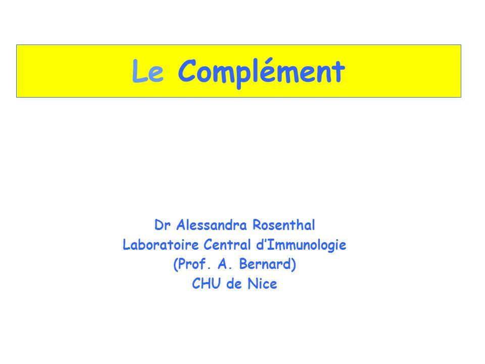 Le Complément Dr Alessandra Rosenthal Laboratoire Central dImmunologie (Prof. A. Bernard) CHU de Nice