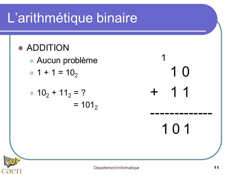 Département Informatique11 Larithmétique binaire ADDITION Aucun problème 1 + 1 = 10 2 10 2 + 11 2 = ? = 101 2 1 0 + 1 1 ------------- 101 1