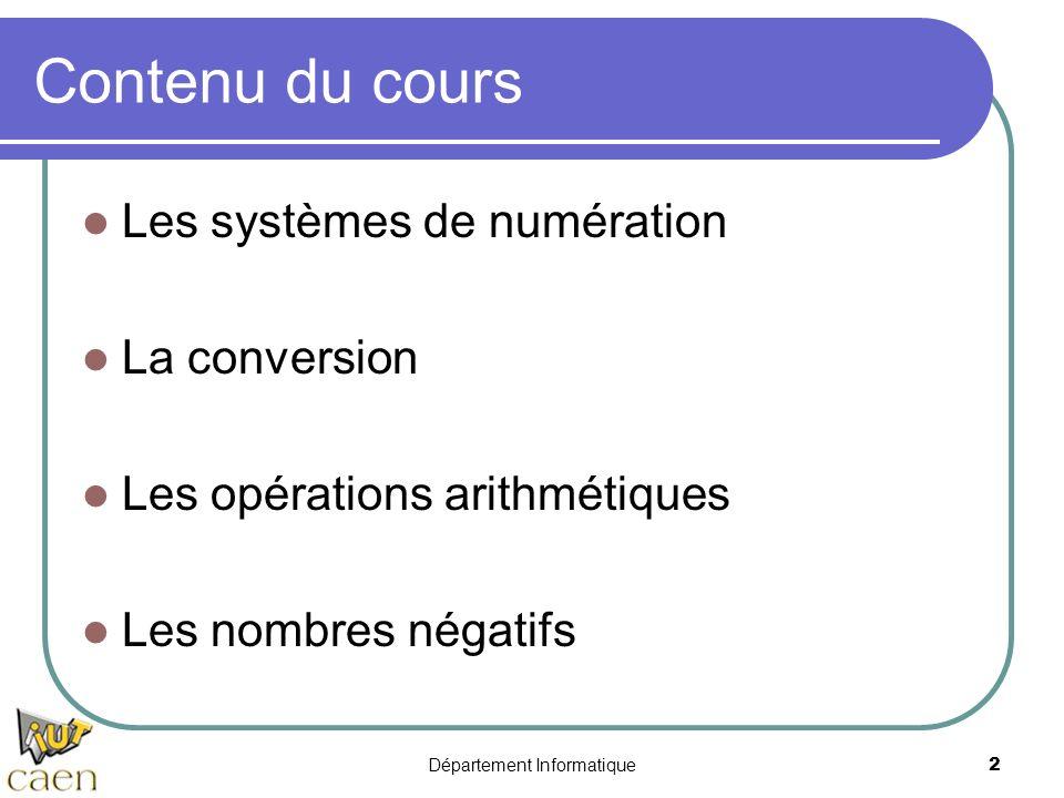 Département Informatique2 Contenu du cours Les systèmes de numération La conversion Les opérations arithmétiques Les nombres négatifs