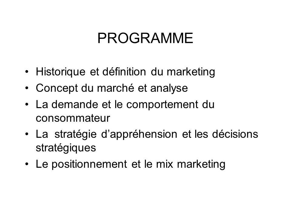 PROGRAMME Historique et définition du marketing Concept du marché et analyse La demande et le comportement du consommateur La stratégie dappréhension