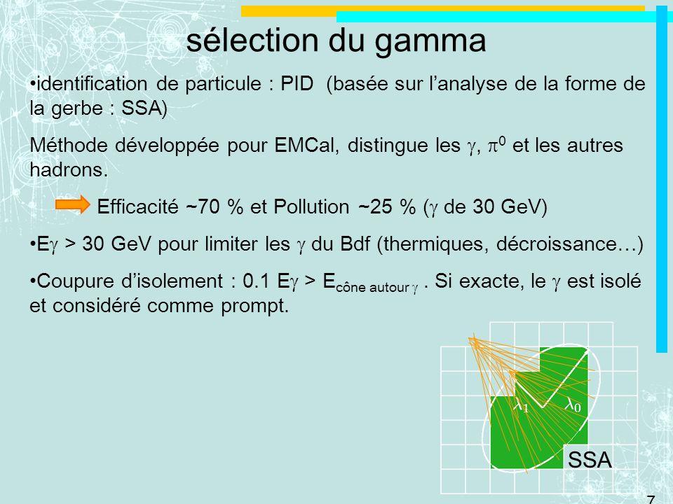 7 sélection du gamma identification de particule : PID (basée sur lanalyse de la forme de la gerbe : SSA) Méthode développée pour EMCal, distingue les, 0 et les autres hadrons.