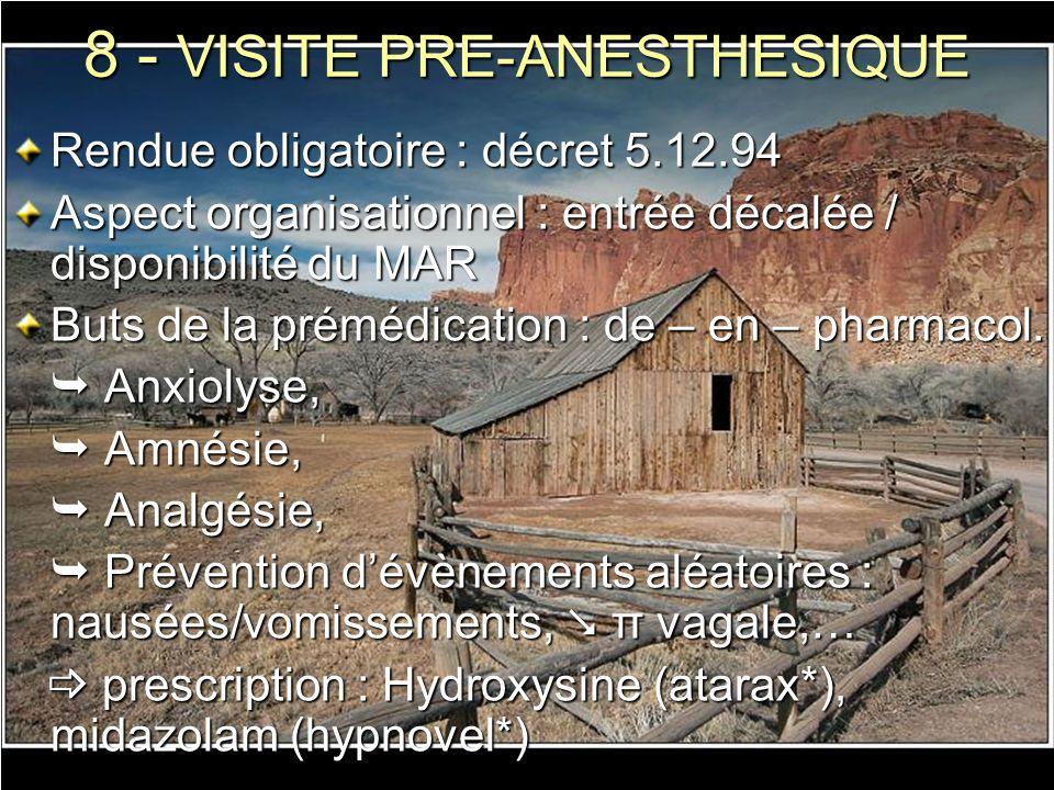 8 - VISITE PRE-ANESTHESIQUE Rendue obligatoire : décret 5.12.94 Aspect organisationnel : entrée décalée / disponibilité du MAR Buts de la prémédicatio