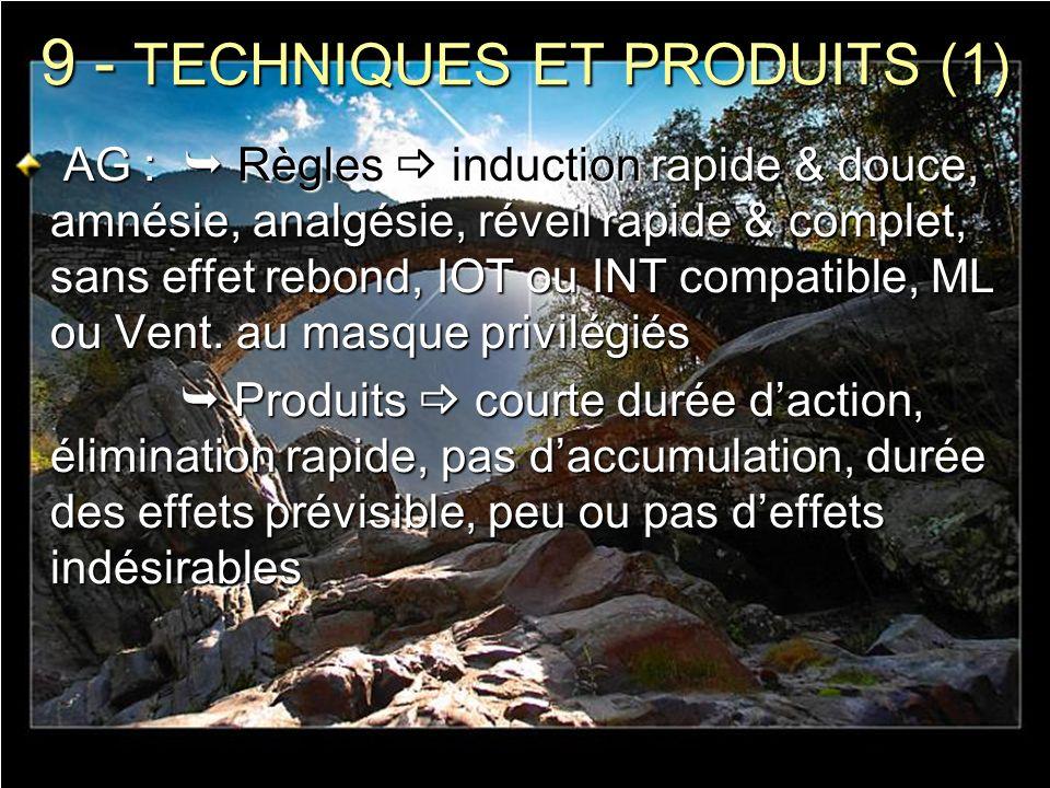 9 - TECHNIQUES ET PRODUITS (1) AG : Règles induction rapide & douce, amnésie, analgésie, réveil rapide & complet, sans effet rebond, IOT ou INT compat