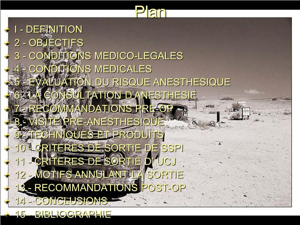 Plan I - DEFINITION 2 - OBJECTIFS 3 - CONDITIONS MEDICO-LEGALES 4 - CONDITIONS MEDICALES 5 - EVALUATION DU RISQUE ANESTHESIQUE 6 - LA CONSULTATION DAN