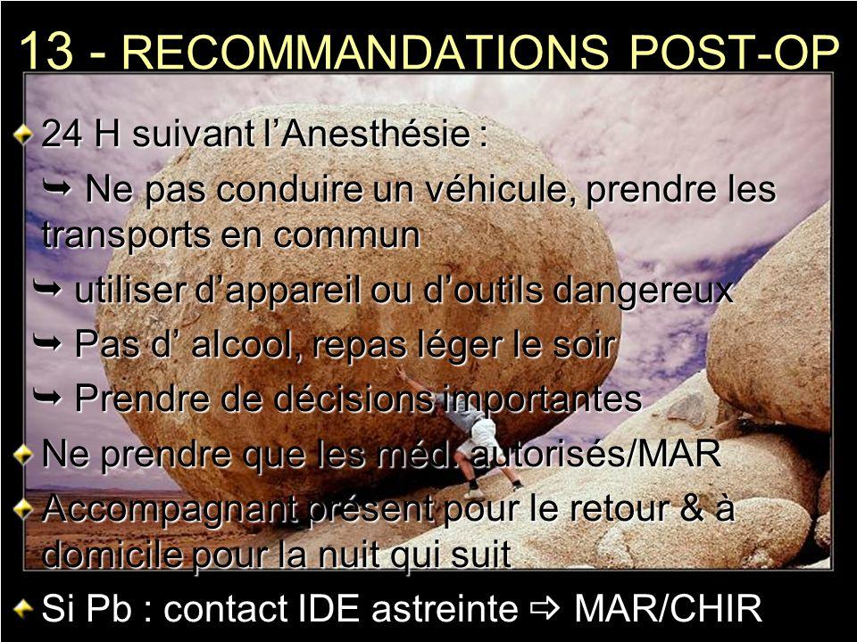 13 - RECOMMANDATIONS POST-OP 24 H suivant lAnesthésie : Ne pas conduire un véhicule, prendre les transports en commun Ne pas conduire un véhicule, pre
