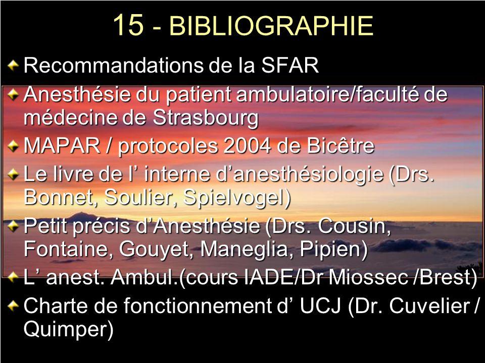 15 - BIBLIOGRAPHIE Recommandations de la SFAR Anesthésie du patient ambulatoire/faculté de médecine de Strasbourg MAPAR / protocoles 2004 de Bicêtre L