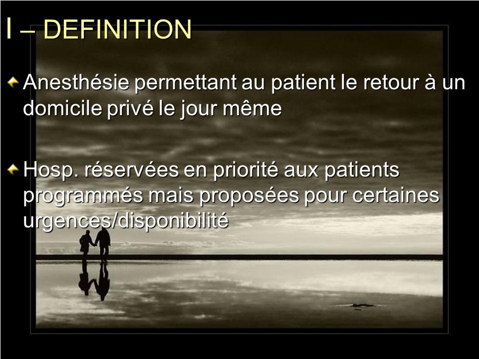 I – DEFINITION Anesthésie permettant au patient le retour à un domicile privé le jour même Hosp. réservées en priorité aux patients programmés mais pr