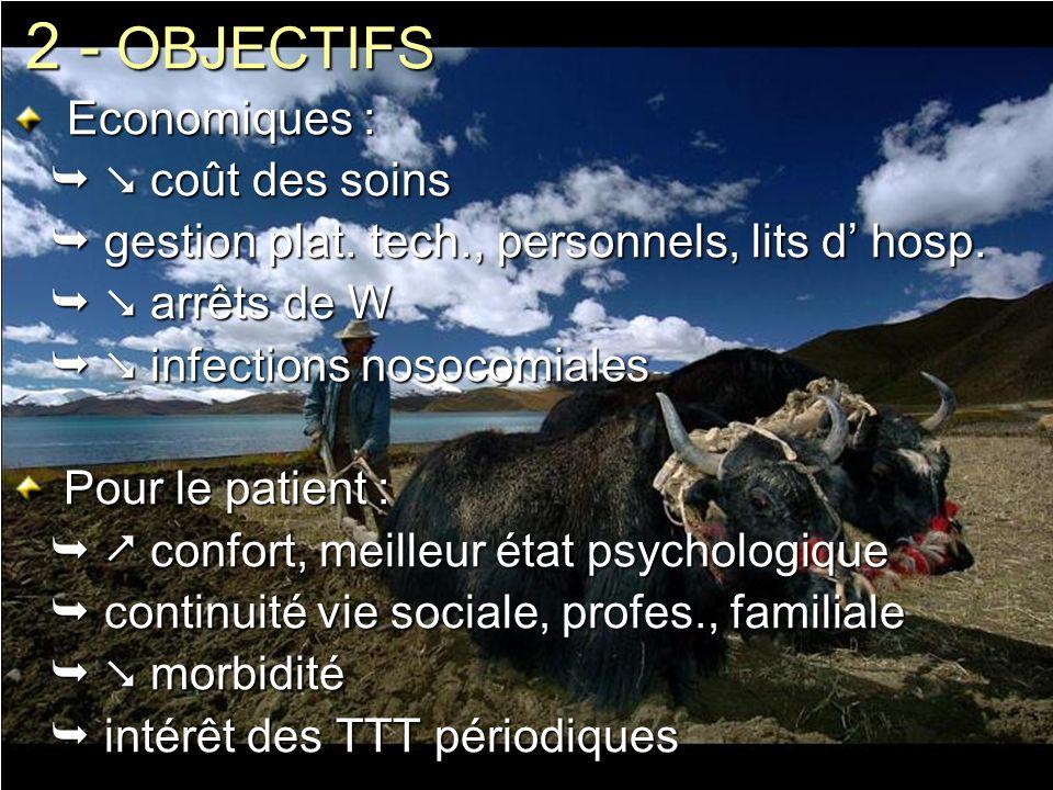 2 - OBJECTIFS Economiques : Economiques : coût des soins coût des soins gestion plat. tech., personnels, lits d hosp. gestion plat. tech., personnels,