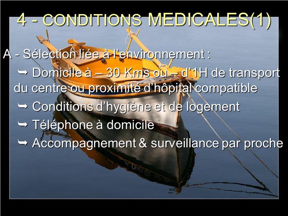 4 - CONDITIONS MEDICALES(1) A - Sélection liée à lenvironnement : Domicile à – 30 Kms ou – d1H de transport du centre ou proximité dhôpital compatible