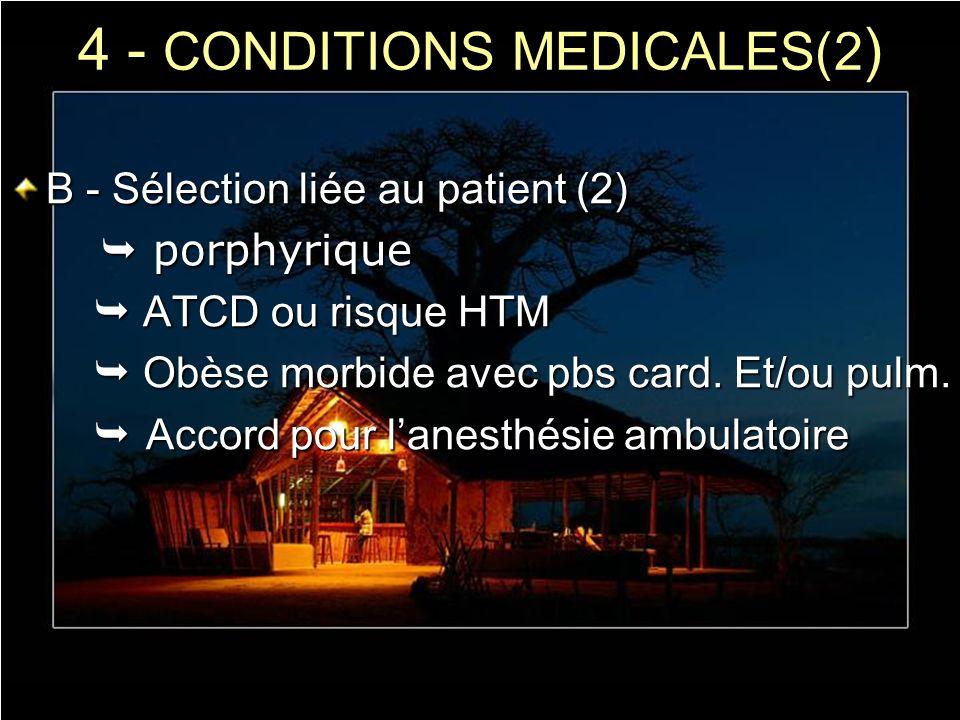 4 - CONDITIONS MEDICALES(2 ) B - Sélection liée au patient (2) porphyrique porphyrique ATCD ou risque HTM ATCD ou risque HTM Obèse morbide avec pbs ca