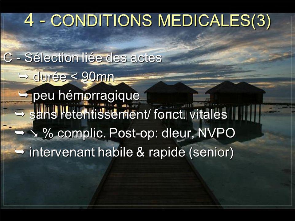 4 - CONDITIONS MEDICALES(3) C - Sélection liée des actes durée < 90mn durée < 90mn peu hémorragique peu hémorragique sans retentissement/ fonct. vital