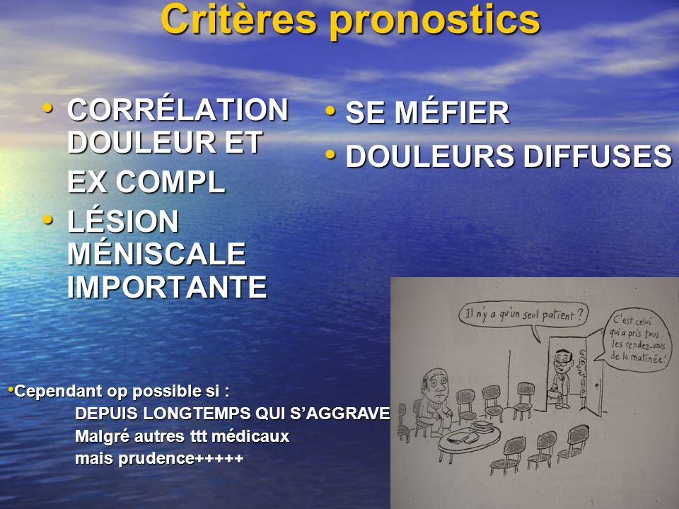 Critères pronostics CORRÉLATION DOULEUR ET CORRÉLATION DOULEUR ET EX COMPL LÉSION MÉNISCALE IMPORTANTE LÉSION MÉNISCALE IMPORTANTE SE MÉFIER SE MÉFIER