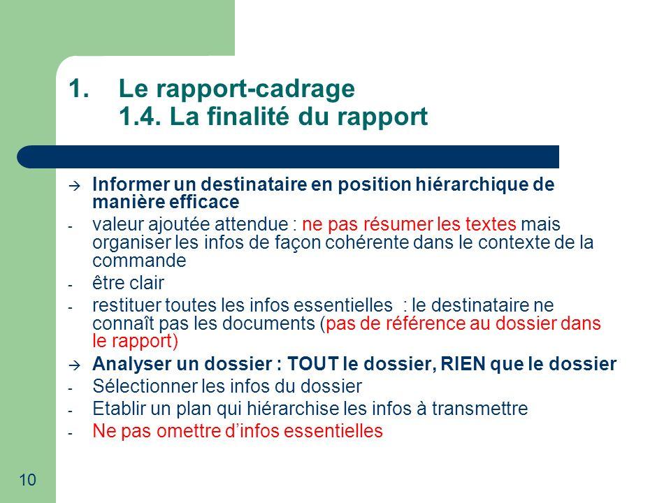 10 1.Le rapport-cadrage 1.4. La finalité du rapport Informer un destinataire en position hiérarchique de manière efficace - valeur ajoutée attendue :