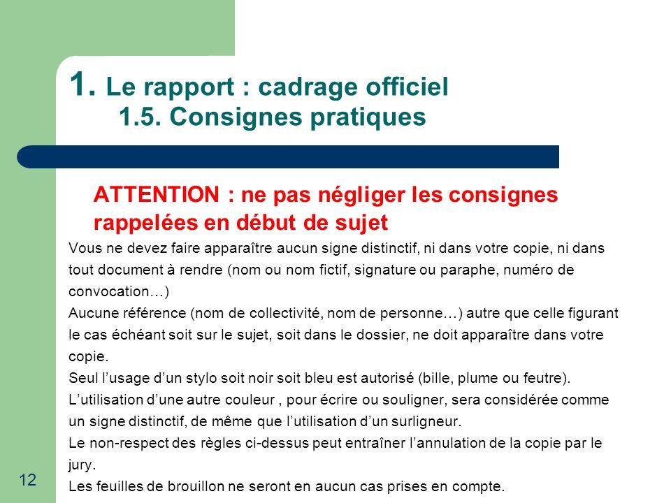 12 1. Le rapport : cadrage officiel 1.5. Consignes pratiques ATTENTION : ne pas négliger les consignes rappelées en début de sujet Vous ne devez faire
