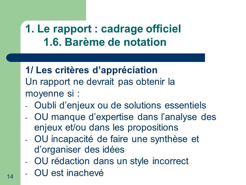 14 1. Le rapport : cadrage officiel 1.6. Barème de notation 1/ Les critères dappréciation Un rapport ne devrait pas obtenir la moyenne si : - Oubli de