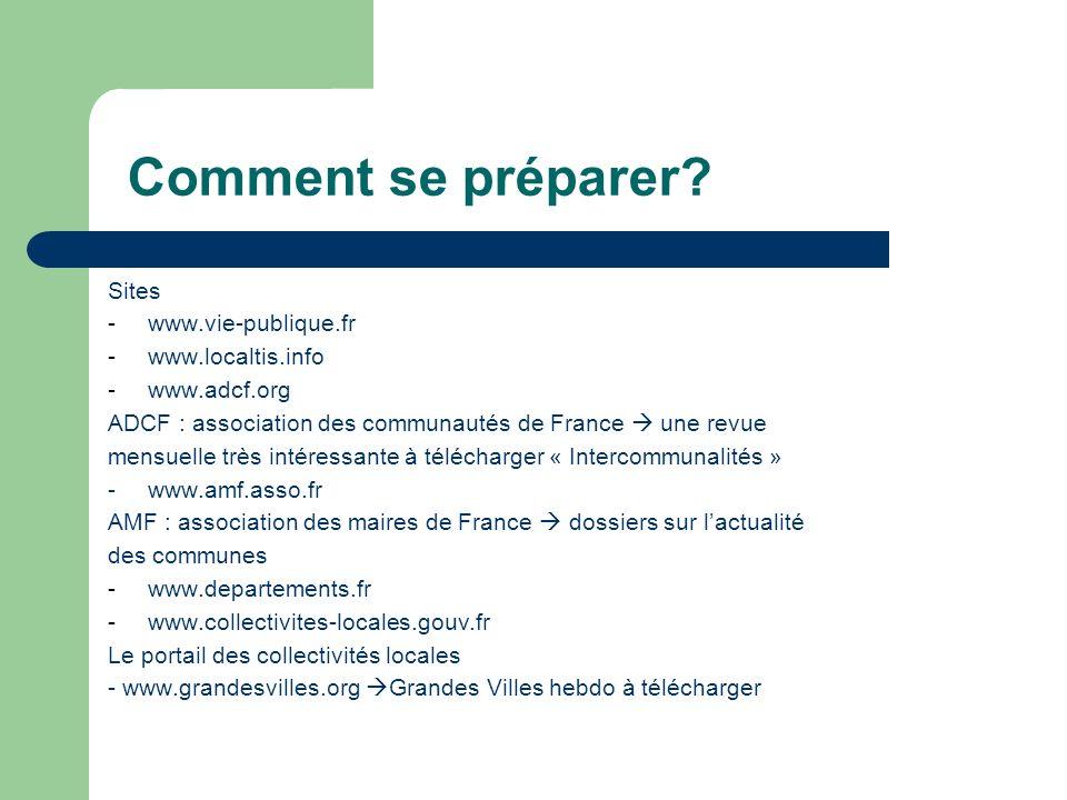Comment se préparer? Sites -www.vie-publique.fr -www.localtis.info -www.adcf.org ADCF : association des communautés de France une revue mensuelle très