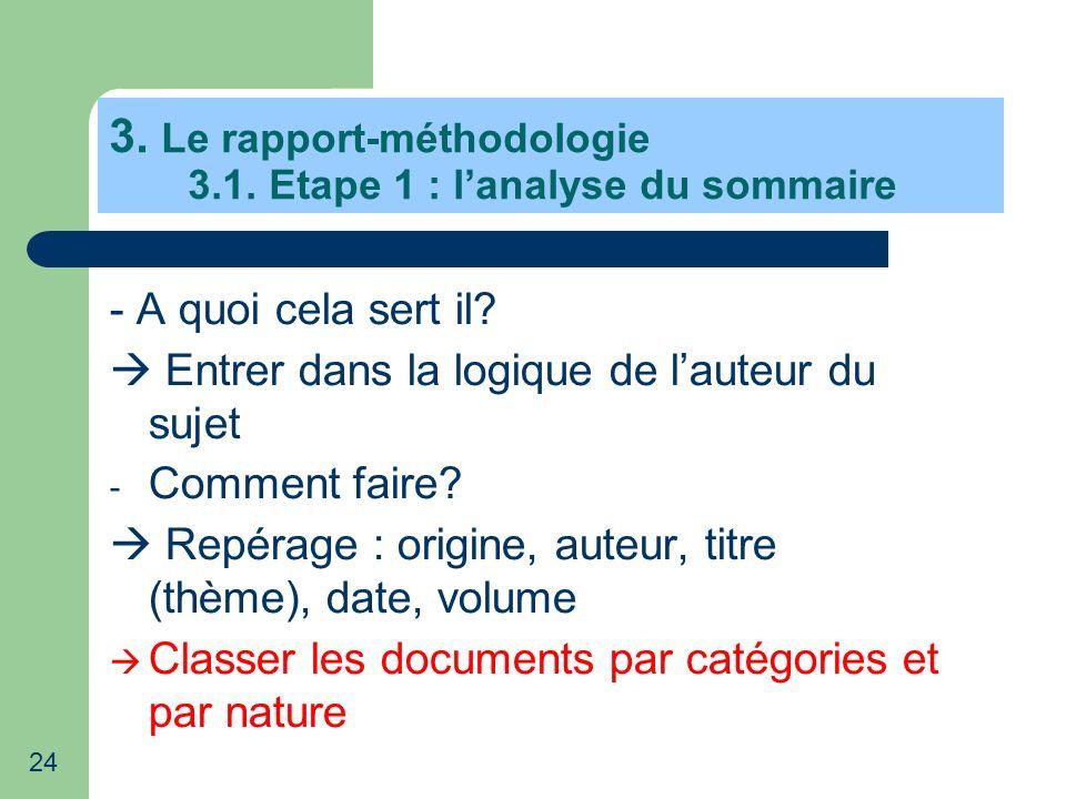 24 3. Le rapport-méthodologie 3.1. Etape 1 : lanalyse du sommaire - A quoi cela sert il? Entrer dans la logique de lauteur du sujet - Comment faire? R