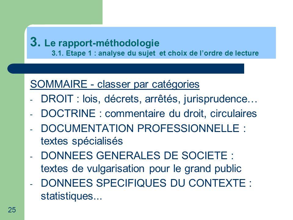 25 3. Le rapport-méthodologie 3.1. Etape 1 : analyse du sujet et choix de lordre de lecture SOMMAIRE - classer par catégories - DROIT : lois, décrets,
