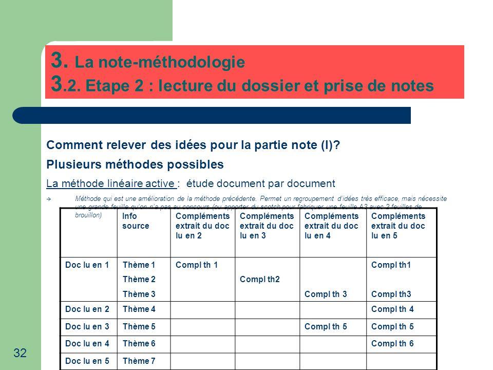 32 3. La note-méthodologie 3.2. Etape 2 : lecture du dossier et prise de notes Comment relever des idées pour la partie note (I)? Plusieurs méthodes p