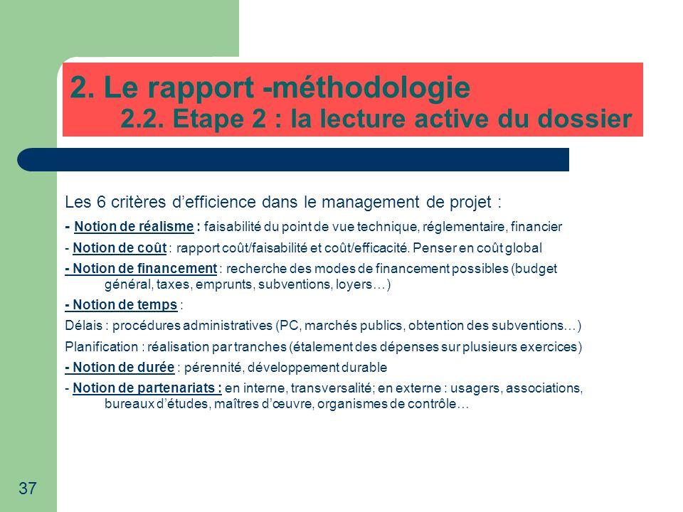 37 2. Le rapport -méthodologie 2.2. Etape 2 : la lecture active du dossier Les 6 critères defficience dans le management de projet : - Notion de réali