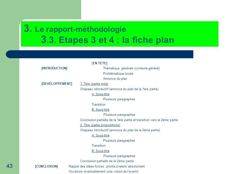 43 3. Le rapport-méthodologie 3.3. Etapes 3 et 4 : la fiche plan [EN TETE] [INTRODUCTION]Thématique générale (contexte général) Problématique locale A