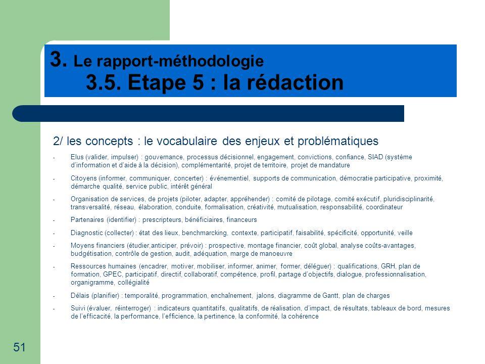 51 3. Le rapport-méthodologie 3.5. Etape 5 : la rédaction 2/ les concepts : le vocabulaire des enjeux et problématiques - Elus (valider, impulser) : g