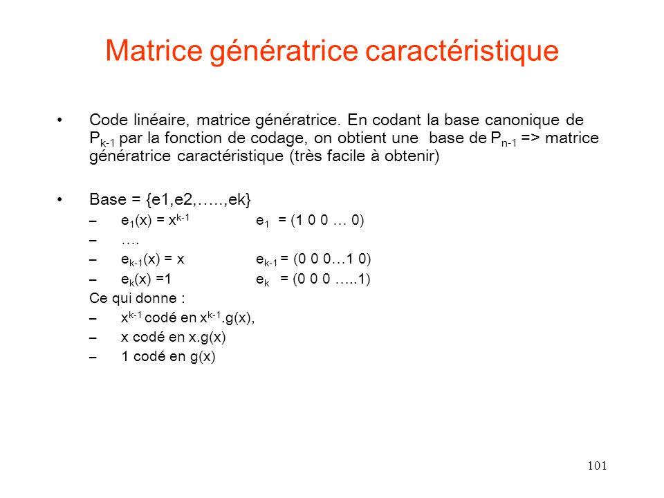 101 Matrice génératrice caractéristique Code linéaire, matrice génératrice. En codant la base canonique de P k-1 par la fonction de codage, on obtient