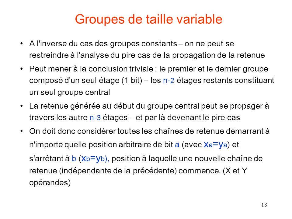 18 Groupes de taille variable A l'inverse du cas des groupes constants – on ne peut se restreindre à l'analyse du pire cas de la propagation de la ret