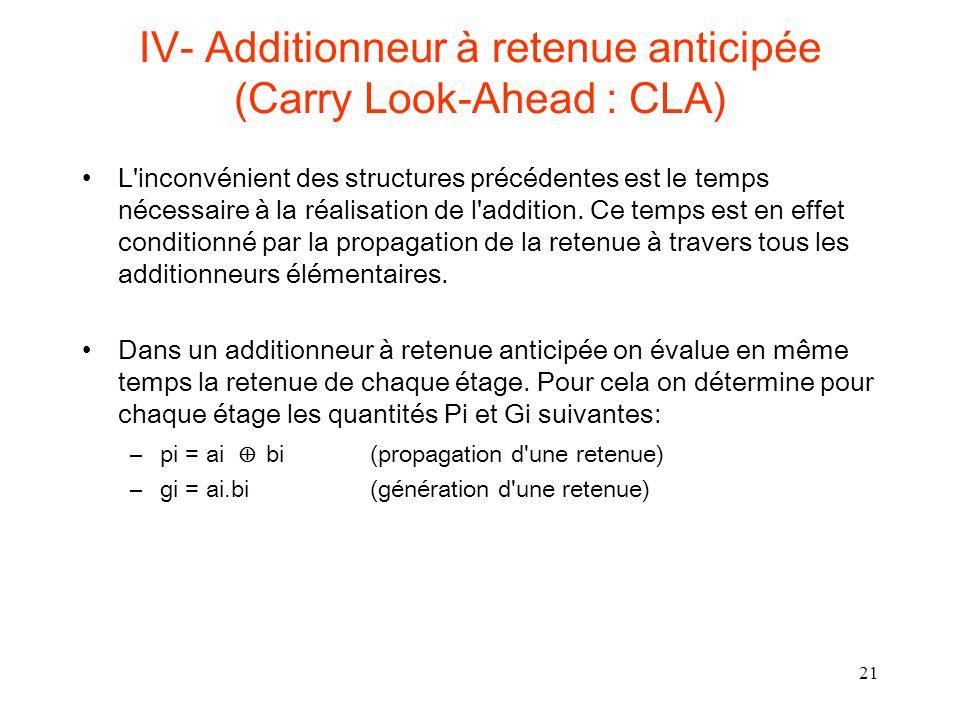 21 IV- Additionneur à retenue anticipée (Carry Look-Ahead : CLA) L inconvénient des structures précédentes est le temps nécessaire à la réalisation de l addition.
