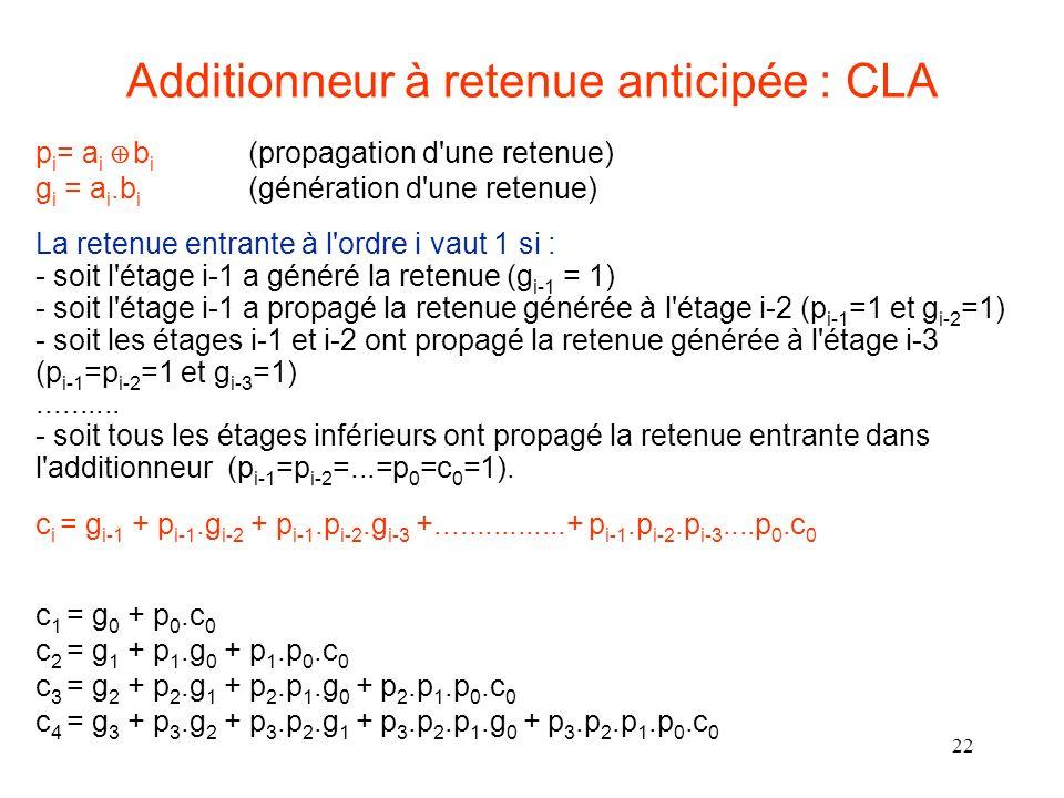 22 p i = a i b i (propagation d une retenue) g i = a i.b i (génération d une retenue) La retenue entrante à l ordre i vaut 1 si : - soit l étage i-1 a généré la retenue (g i-1 = 1) - soit l étage i-1 a propagé la retenue générée à l étage i-2 (p i-1 =1 et g i-2 =1) - soit les étages i-1 et i-2 ont propagé la retenue générée à l étage i-3 (p i-1 =p i-2 =1 et g i-3 =1)..........