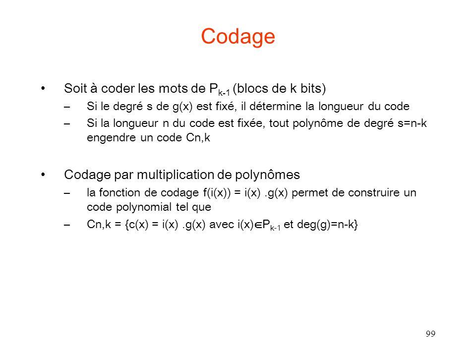 99 Codage Soit à coder les mots de P k-1 (blocs de k bits) –Si le degré s de g(x) est fixé, il détermine la longueur du code –Si la longueur n du code est fixée, tout polynôme de degré s=n-k engendre un code Cn,k Codage par multiplication de polynômes –la fonction de codage f(i(x)) = i(x).g(x) permet de construire un code polynomial tel que –Cn,k = {c(x) = i(x).g(x) avec i(x) P k-1 et deg(g)=n-k}