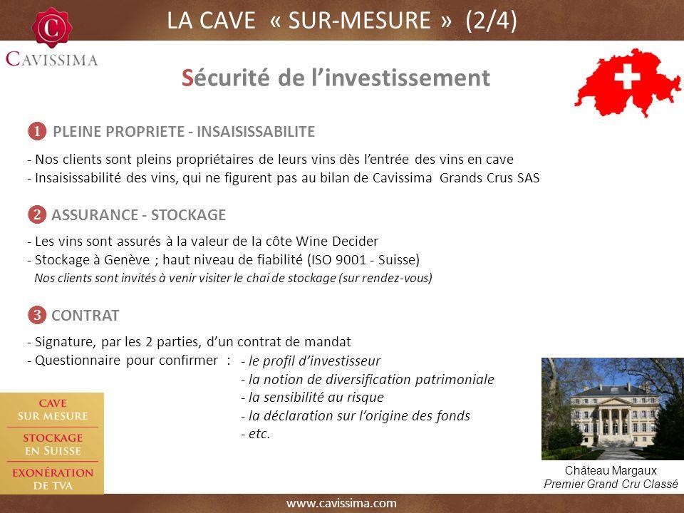 www.cavissima.com Château Margaux Premier Grand Cru Classé LA CAVE « SUR-MESURE » (2/4) Sécurité de linvestissement - le profil dinvestisseur - la notion de diversification patrimoniale - la sensibilité au risque - la déclaration sur lorigine des fonds - etc.