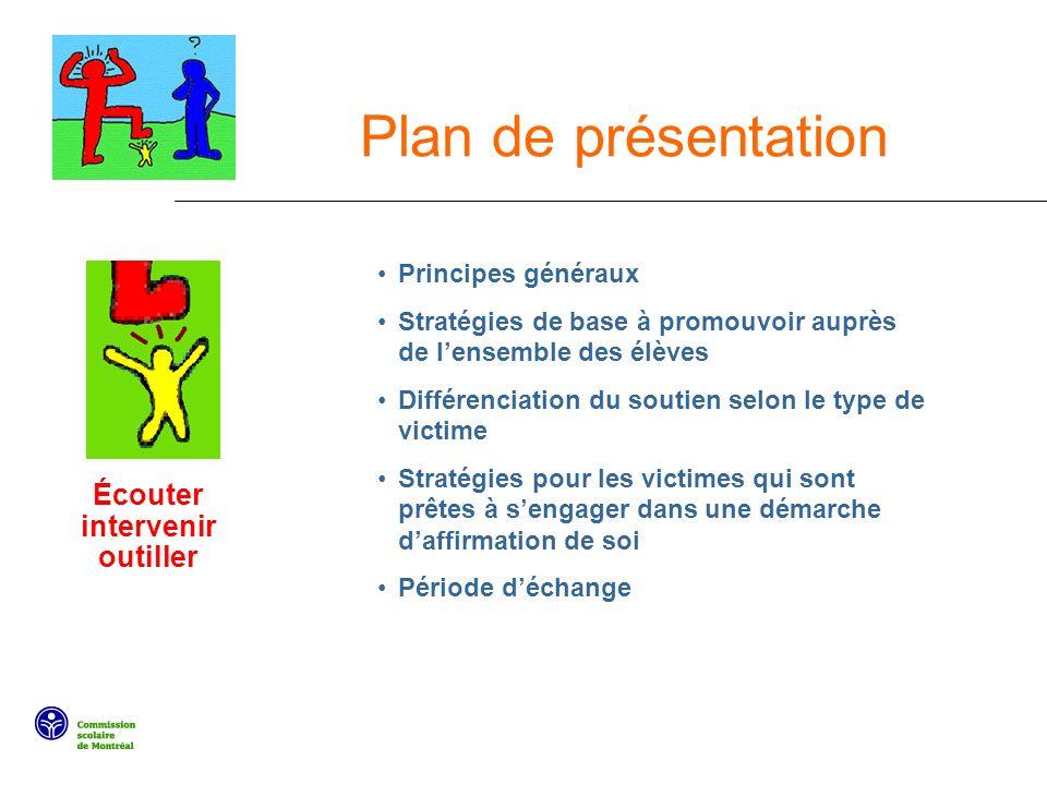 Plan de présentation Principes généraux Stratégies de base à promouvoir auprès de lensemble des élèves Différenciation du soutien selon le type de vic