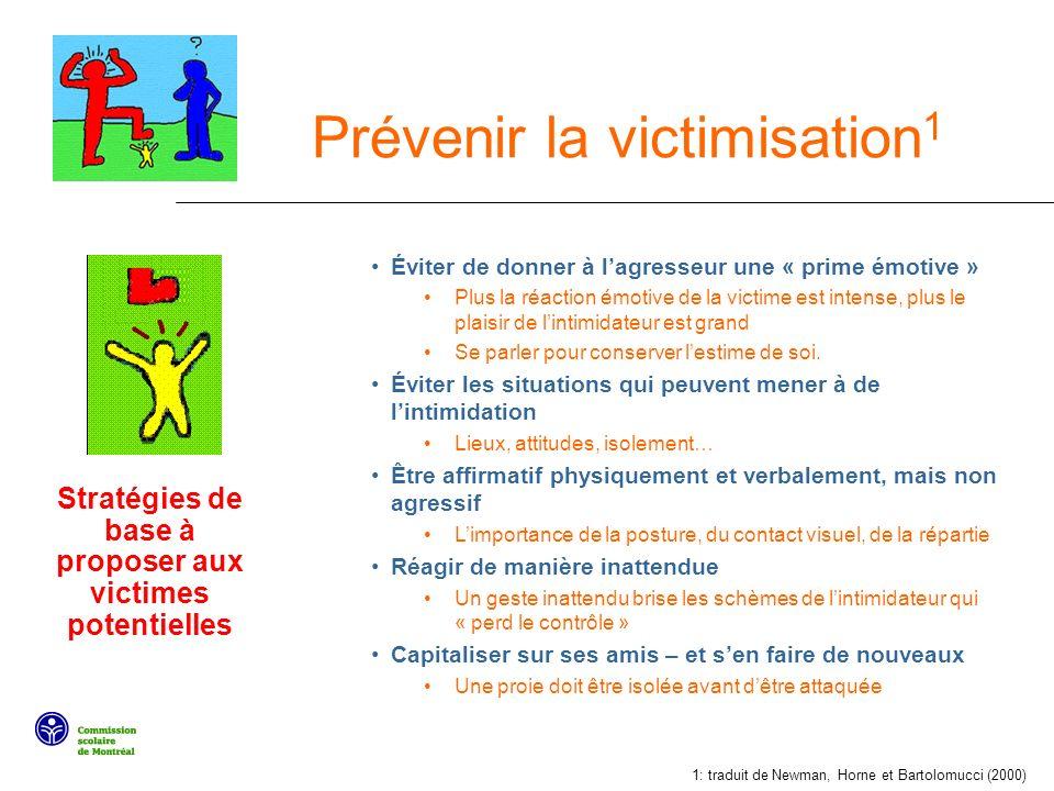 Prévenir la victimisation 1 Éviter de donner à lagresseur une « prime émotive » Plus la réaction émotive de la victime est intense, plus le plaisir de