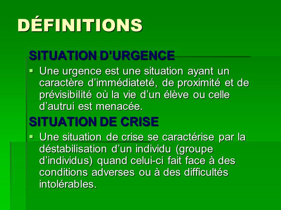 DÉFINITIONS SITUATION DURGENCE Une urgence est une situation ayant un caractère dimmédiateté, de proximité et de prévisibilité où la vie dun élève ou