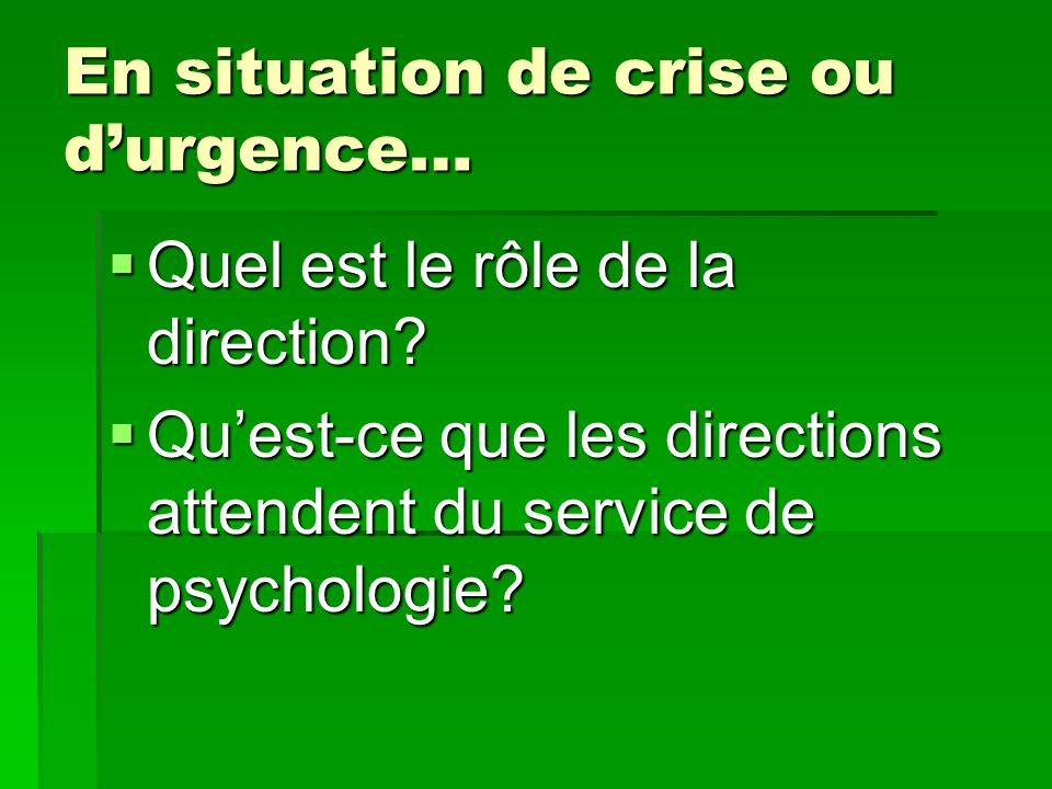 En situation de crise ou durgence… Quel est le rôle de la direction? Quel est le rôle de la direction? Quest-ce que les directions attendent du servic