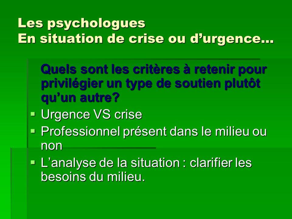 Les psychologues En situation de crise ou durgence… Quels sont les critères à retenir pour privilégier un type de soutien plutôt quun autre? Quels son