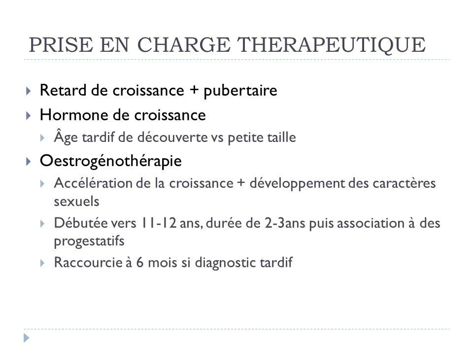 PRISE EN CHARGE THERAPEUTIQUE Retard de croissance + pubertaire Hormone de croissance Âge tardif de découverte vs petite taille Oestrogénothérapie Acc