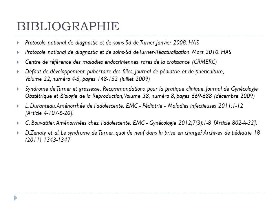 BIBLIOGRAPHIE Protocole national de diagnostic et de soins-Sd de Turner-Janvier 2008. HAS Protocole national de diagnostic et de soins-Sd deTurner-Réa