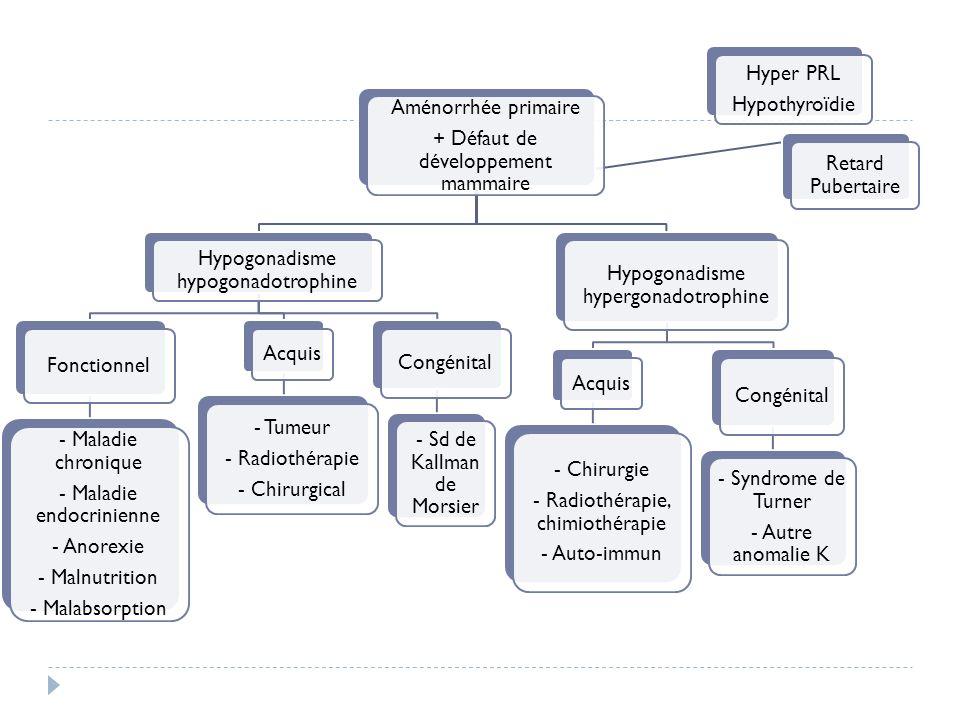 Aménorrhée primaire + Défaut de développement mammaire Hypogonadisme hypogonadotrophine Fonctionnel - Maladie chronique - Maladie endocrinienne - Anor