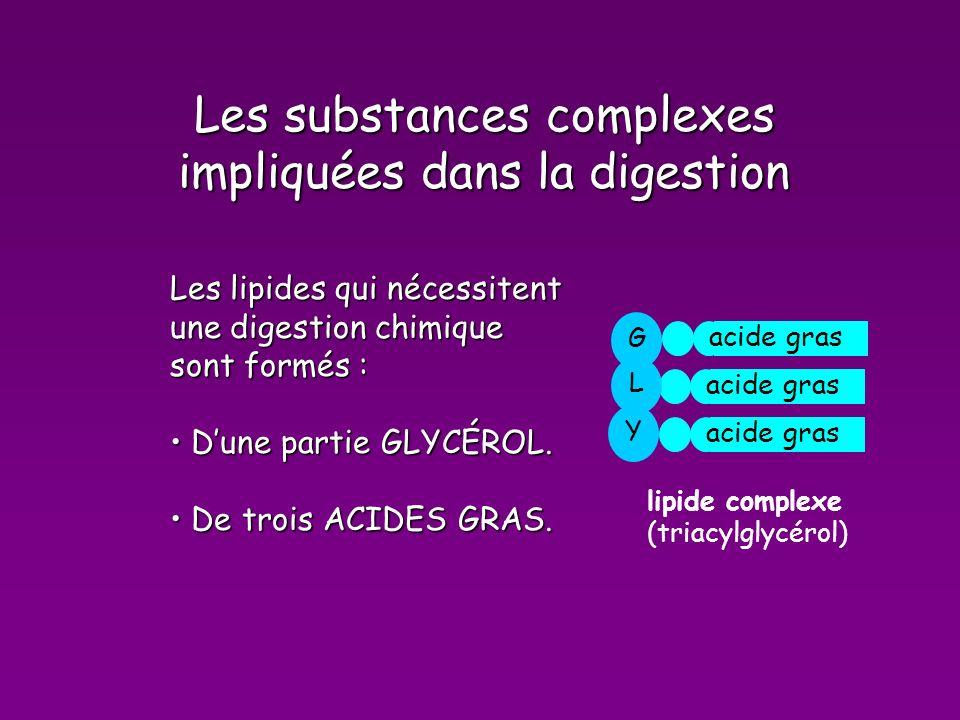Les substances complexes impliquées dans la digestion Les lipides qui nécessitent une digestion chimique sont formés : Dune partie GLYCÉROL.