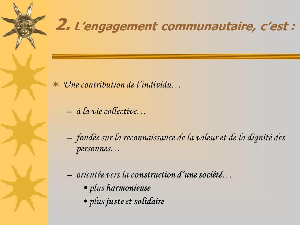 2. Lengagement communautaire, cest : Une contribution de lindividu… –à la vie collective… –fondée sur la reconnaissance de la valeur et de la dignité