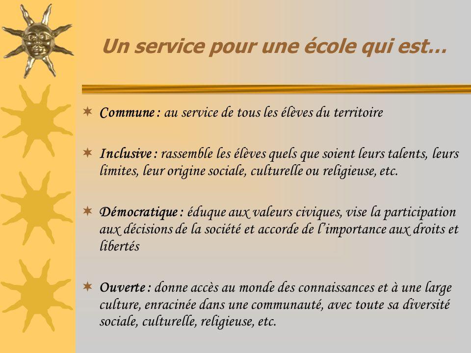 Un service pour une école qui est… Commune : au service de tous les élèves du territoire Inclusive : rassemble les élèves quels que soient leurs talen