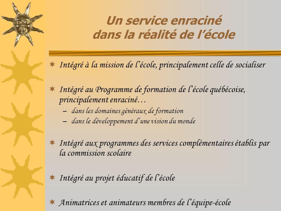 Un service enraciné dans la réalité de lécole Intégré à la mission de lécole, principalement celle de socialiser Intégré au Programme de formation de