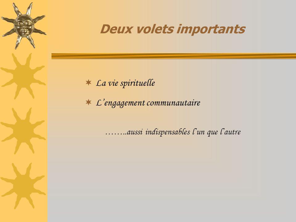 Deux volets importants La vie spirituelle Lengagement communautaire ……..aussi indispensables lun que lautre