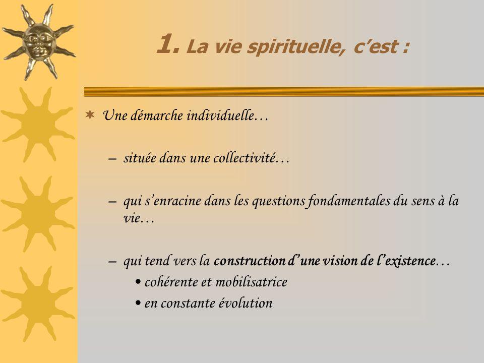1. La vie spirituelle, cest : Une démarche individuelle… –située dans une collectivité… –qui senracine dans les questions fondamentales du sens à la v