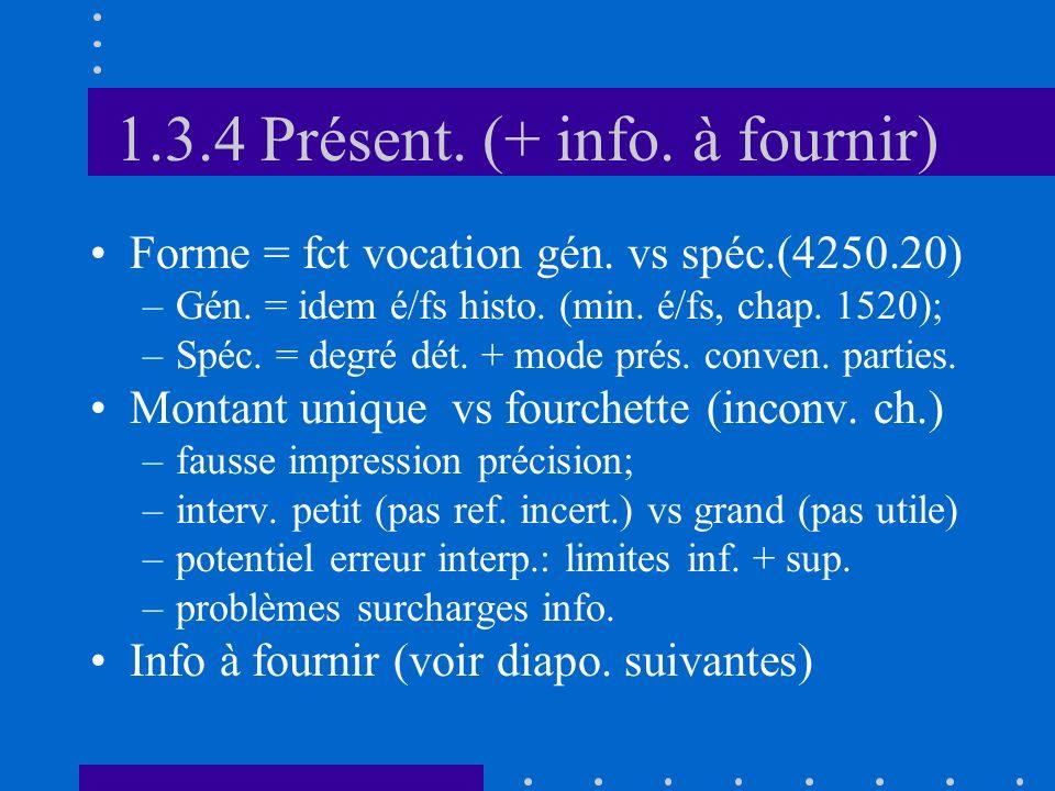 1.3.4 Présent. (+ info. à fournir) Forme = fct vocation gén.