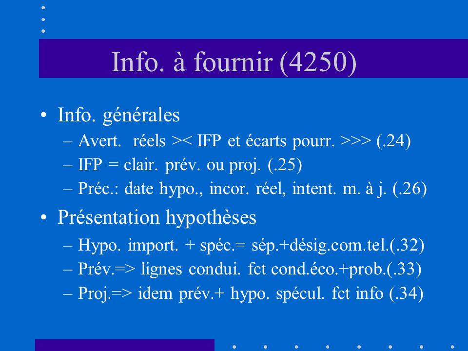 Info. à fournir (4250) Info. générales –Avert. réels > >> (.24) –IFP = clair.