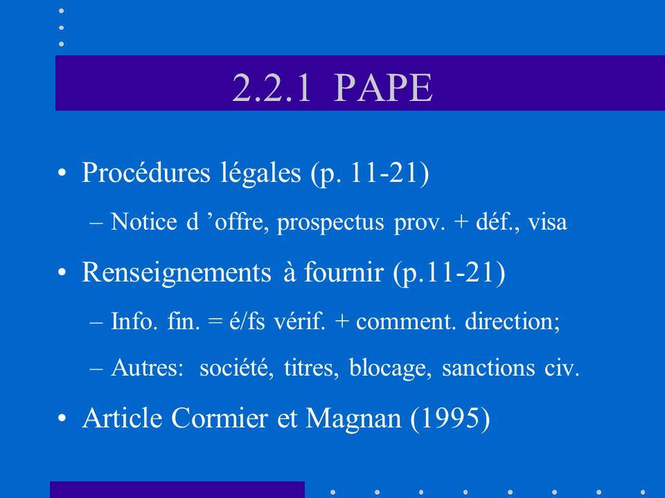 2.2.1 PAPE Procédures légales (p. 11-21) –Notice d offre, prospectus prov.
