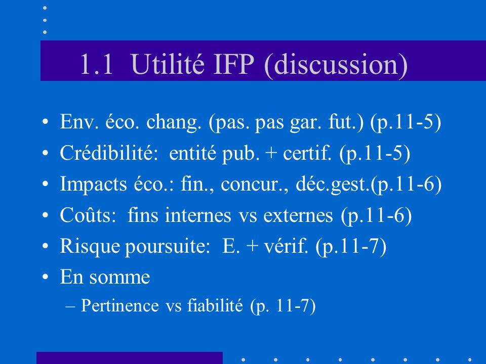 1.1 Utilité IFP (discussion) Env. éco. chang. (pas. pas gar. fut.) (p.11-5) Crédibilité: entité pub. + certif. (p.11-5) Impacts éco.: fin., concur., d